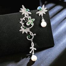 SINZRY new elegant Jewelry Accessory Cubic Zirconia asymmetry butterfly flower dangle Earrings trendy creative earring for women