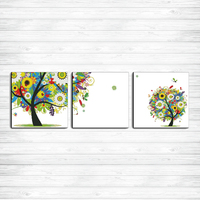 Happy watching trees triple decor paintings dmc 14CT 11CT counted cross stitch Needlework Set Embroidery kits Home decor crafts