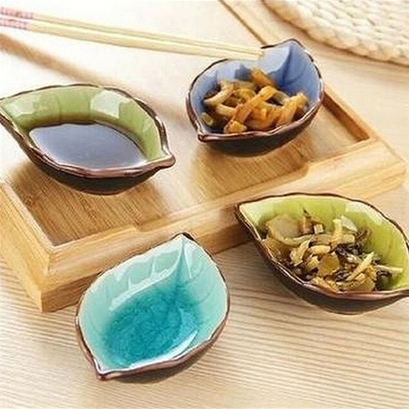 10.5*7*2.5cm Kitchen Bowl kitchen Tool dish Creative ice crack glaze leaf ceramic seasoning soy sauce vinegar small plates ...