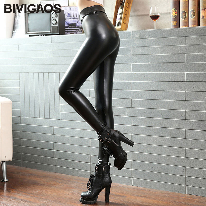 BIVIGAOS Fashion Women PU Leather Pants High Elastic Waist Leggings Not Crack Slim Leather Leggings Skinny