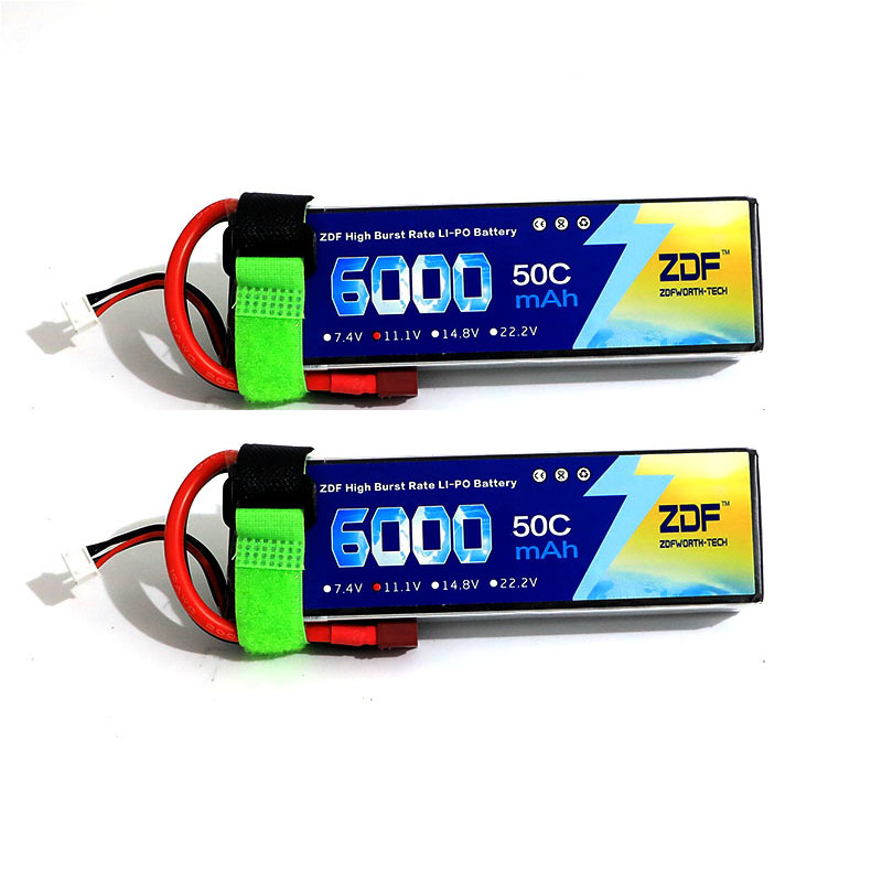 2pcs ZDF Power LiPo Battery 11.1V 6000mAh 3S 50C T Plug For RC Quadcopter Drone Helicopter Car Airplane все цены