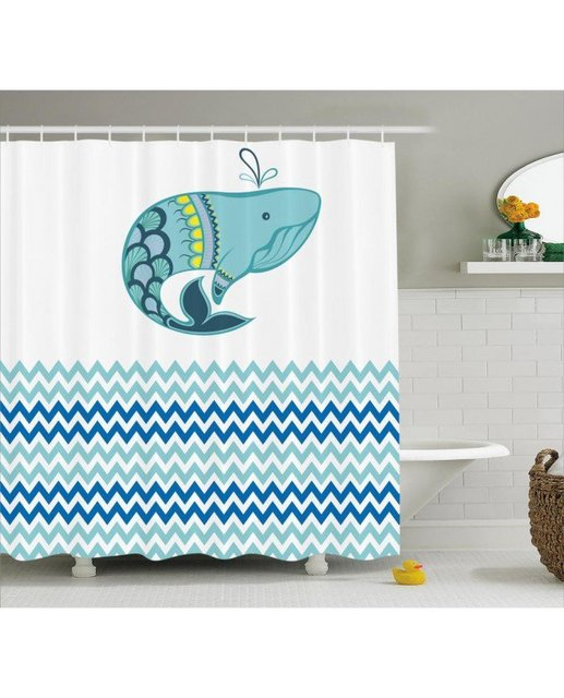 Zee Douchegordijn Walvis Met Zigzag Patroon Print Voor Badkamer