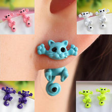 New 100% Handmade Polymer Clay Animal Earrings Cute Cat Red Fox Lovely Panda Squirrel Tiger Stud Earrings For Women Jewelry(China)