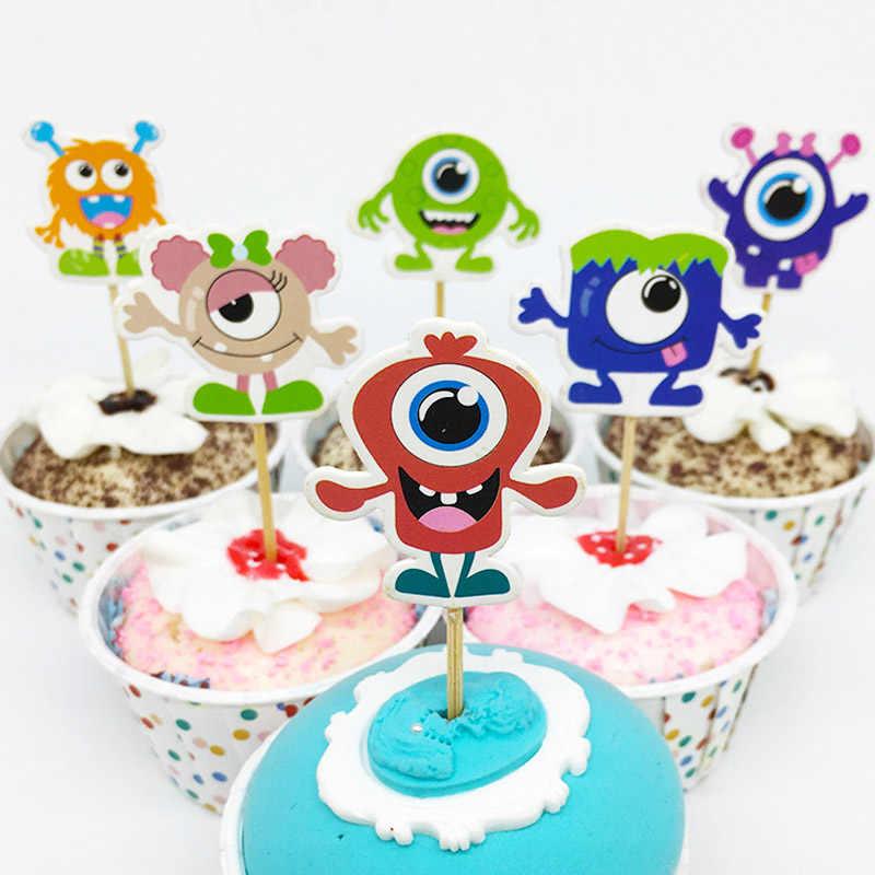Pleasing 48Pcs Set Cool Monster University Cartoon Cupcake Cup Cake Topper Personalised Birthday Cards Epsylily Jamesorg