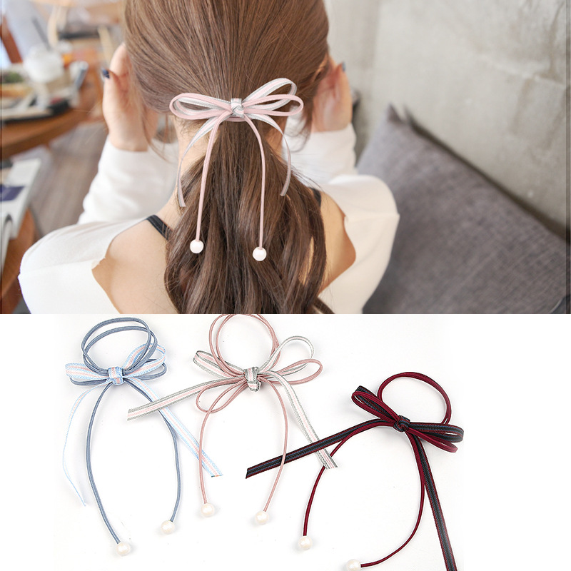 3PCS New Candy Color Ribbon Bow Elastic Hair Band Hair Tie Rubber Bands Stripe Bowknot Women Girl Accessories