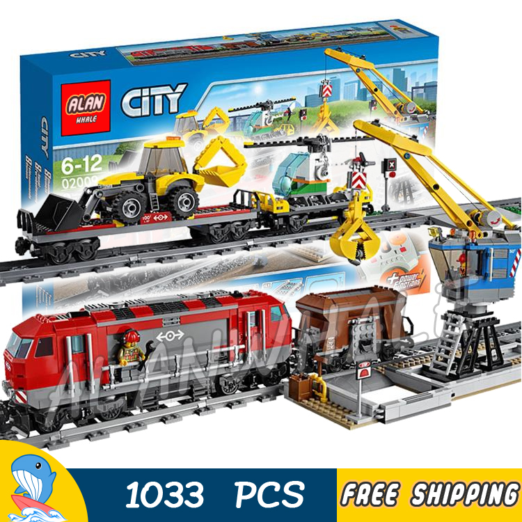 1033pcs City Motorized Remote Control Heavy haul Train 02009 Model Building Block Toy Power Functions Brick Compatible With Lego lepin 02009 city engineering remote control rc train model