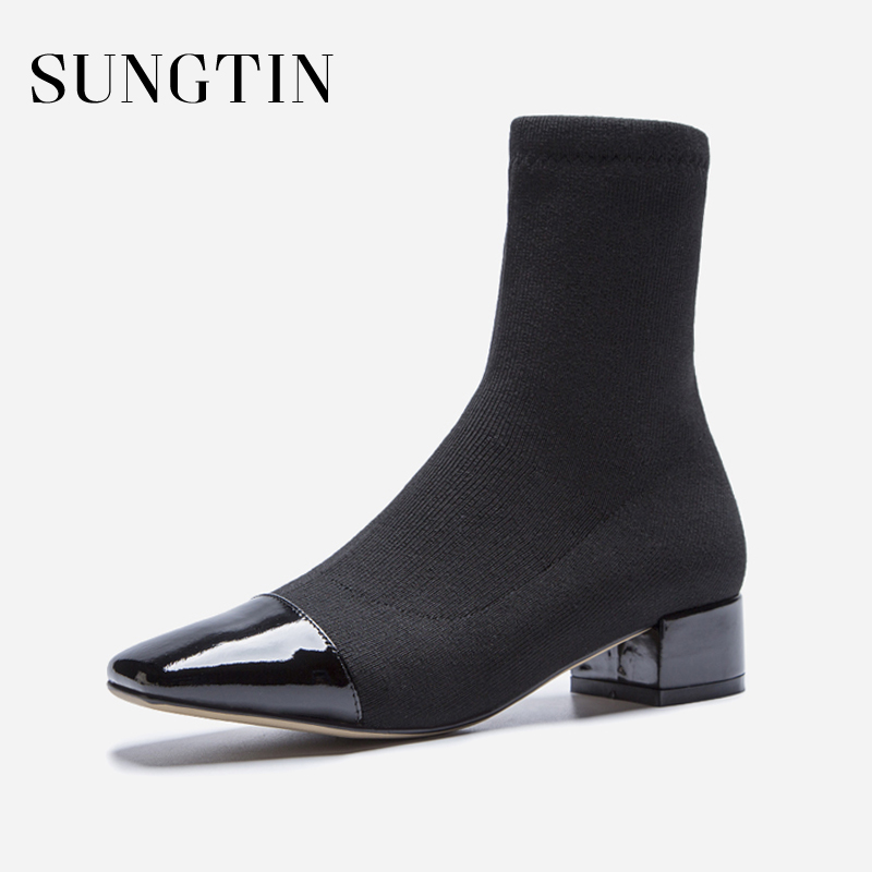Sungtin New Knit Winter Sock Boots Women Fashion Solid Black Stretch Martin Boots Casual Square Toe Short Boots Ladies Booties