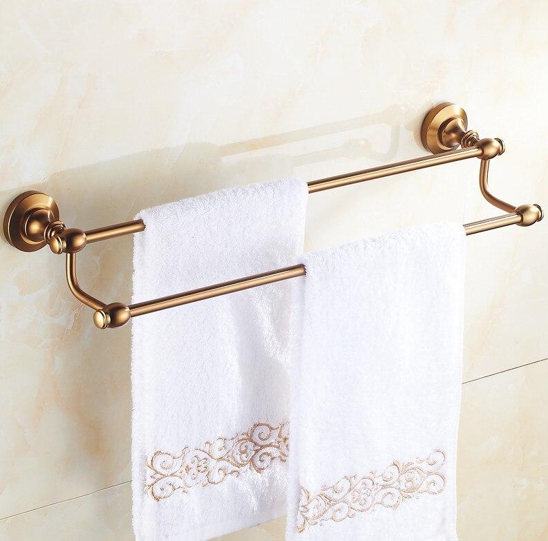 (24,60cm)Bathroom accessories ,Space aluminum Material Double Towel Bar &Towel Rack / Antique Finish Vintage Style  Design bathroom towel rack space aluminum bathroom hanging racks hotels folded bar hook