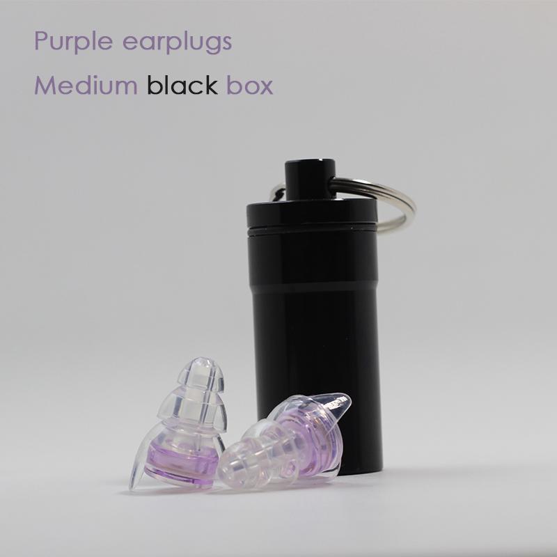 Purple earplugs + Medium black box