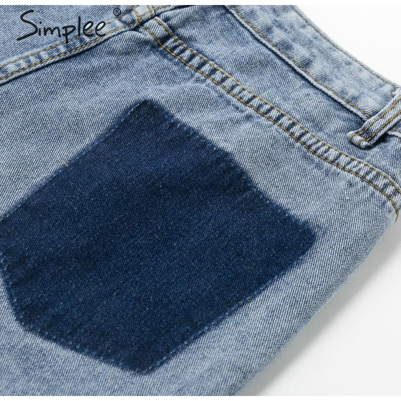 Simplee Buttons high waist denim shorts women 2019 Summer casual pockets splice jeans shorts Female loose chain streetwear short