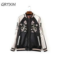 Jacket Coat Floral Embroidered Bomber Jacket Women Autumn Flower Baseball Basic Jacket Female Black Coat 2018