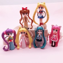 High Quality 2019 New Popular Cute Keychain Water Moon Beautiful Girl Warrior Lovely 3D Doll Key Chain DIY Accessories Cartoo