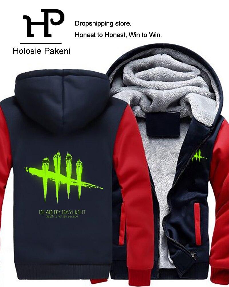 Dropshipping Game Dead by Daylight Luminous Mens Hoodies Zipper Sweatshirt Jacket Winter Warmth Fleece Thicken Jacket Coat