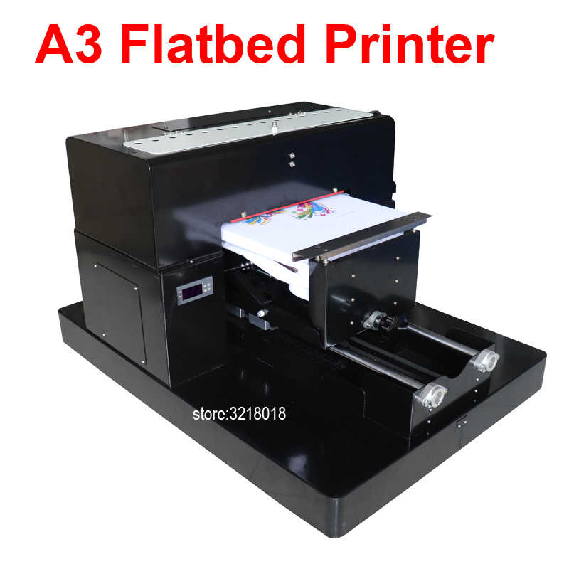 Multicolor A3 Flatbed Printer Printer DTG Tshirt Printer Cetak Gelap Warna Cahaya Flatbed Printer untuk Tshirt Pakaian Phone Case