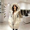 Abrigos de invierno las mujeres embarazadas más tamaño sueltan gruesa medio-largo secciones abajo chaquetas con capucha wadded señoras S1195