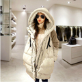 winter pregnant women's warm coats plus size loose thick medium-long sections down jackets hooded wadded ladies S1195