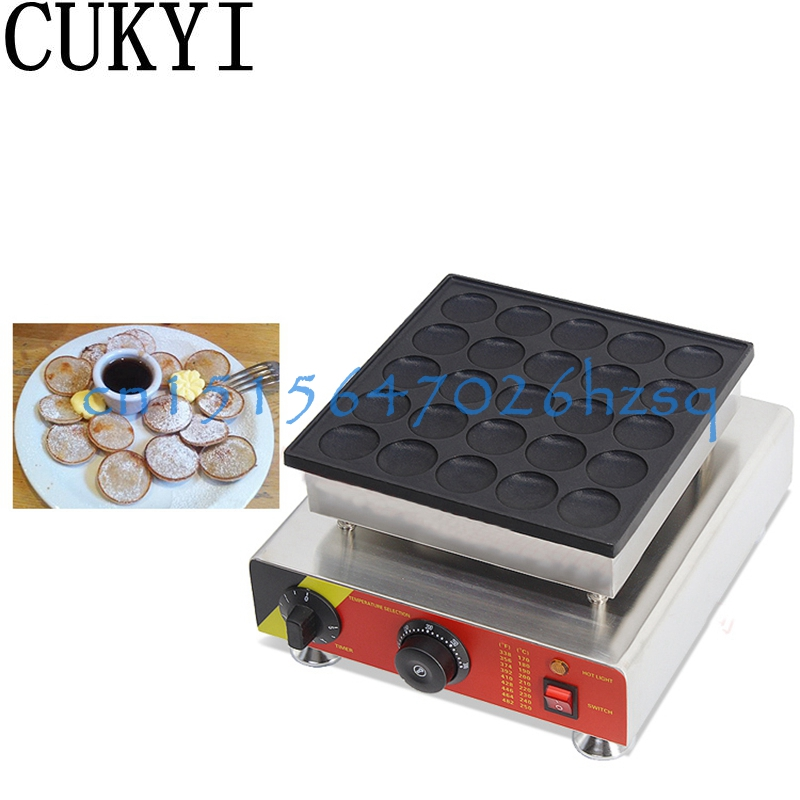 CUKYI Poffertjes Machine Stainless Steel Small Pancake Machine with Non-stick Pan Poffertjes Grill Waffle Maker 25 pcs Moulds cukyi household electric multi function cooker 220v stainless steel colorful stew cook steam machine 5 in 1