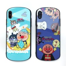 Arc Tempered Glass Case For iPhone X XS XR MAX 6 6S 7 8 Plus Cute Cartoon Anpanman Mobile Phone