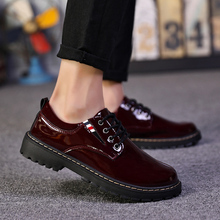 Mens Casual Shoes Black Korean Version of The Trend To Increase Society with A Soft Leather Hairstylist British Shoe5