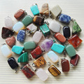 Wholesale 36pc Natural stone pendants mixed Fashion Point Charms Jewelry necklace Turquoise Rose Quartz Opal jade  free shipping