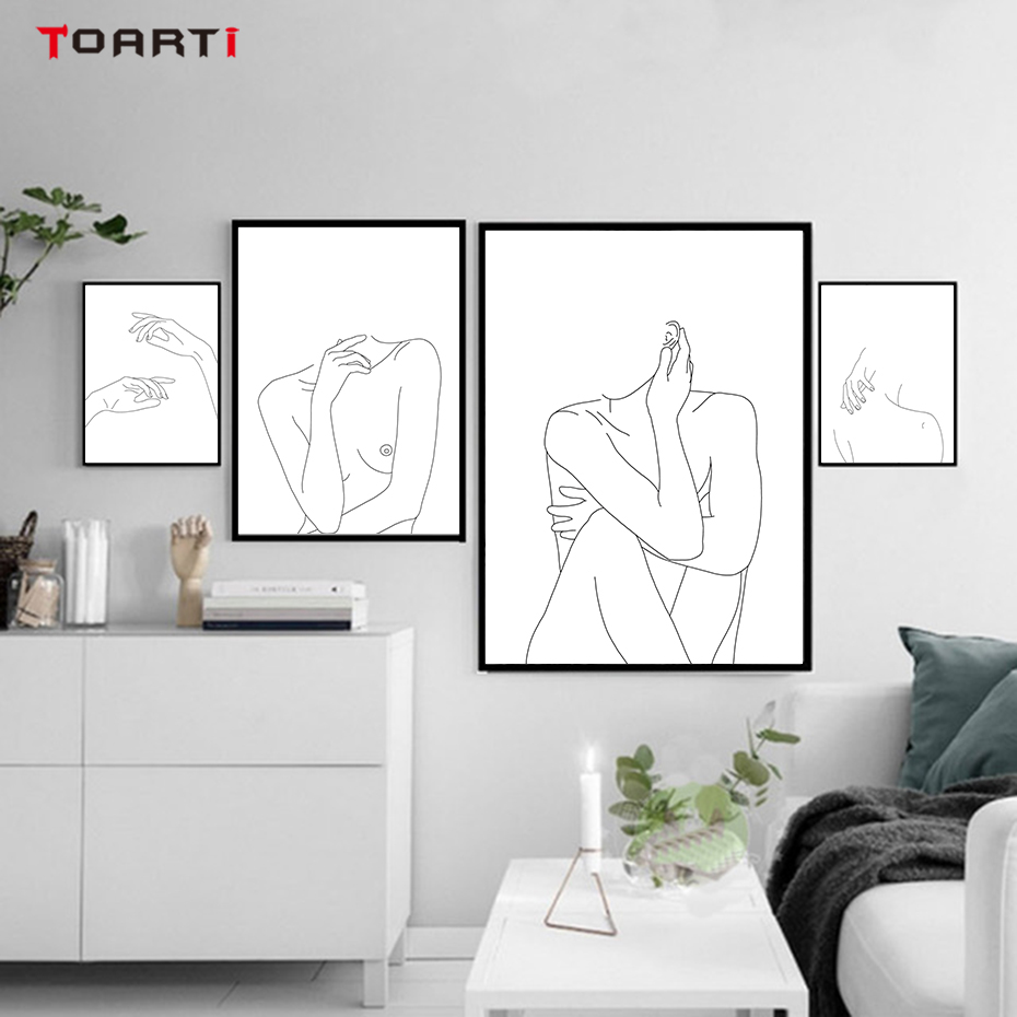 Nordic Posters&Prints Modular Minimalist Line Drawing Wall Pictures Sexy Woman Body Nude Art Paintings Bedroom Home Decor Mural line art