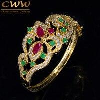 Cwwzircons diseño único Dubai oro amarillo color rojo verde CZ cristal grande ancho de lujo brazalete de la vendimia para las mujeres BG009
