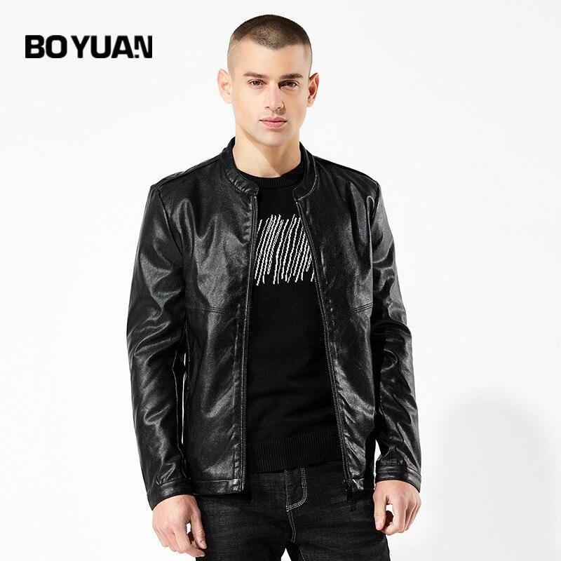 BOYUAN Mens Leather Jacket Camperas de Cuero hombre jaqueta de couro Fashion pu faux Male Leather Jacket Stand Collar DSWP1883