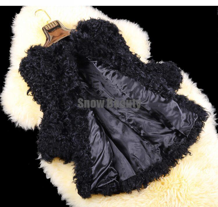 Femmes Long Survêtement Outwear Cw2780 Mouton Fourrure De D'hiver Gratuite Veste Véritable Manteau Livraison D'agneau Réel Moyen Dames Mode q7w84H