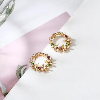Crystal Stud Round Circle Flower Design Earrings