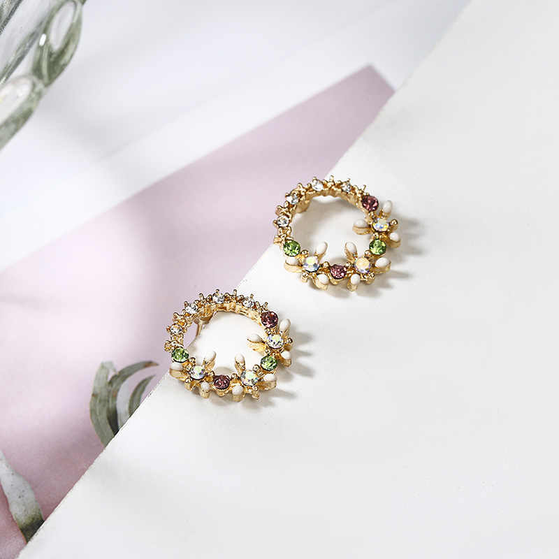 Shiny Color Crystal Stud Earrings New Fashion Round Circle Flower Design Ear Jewelry Elegant Party Birthday Gift For Girl