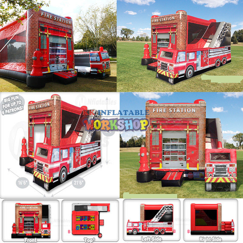 commercial Fire truck inflatable bouncercommercial Fire truck inflatable bouncer