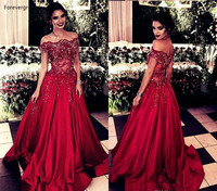 Off Shoulder Red Long Evening Dresses 2019 New Arrival Formal Women Holiday Wear Celebrity Party Gowns Plus Size Custom Made