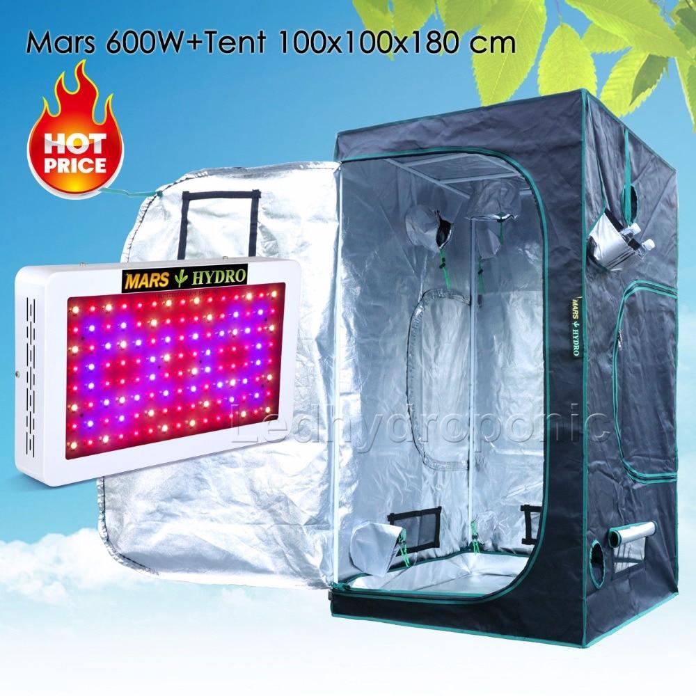 Mars Hydro600W Led Grow Light Veg Flower Plant Full Spectrum+1680D100x100x180 Indoor Grow Tent Kit tyr hydro light