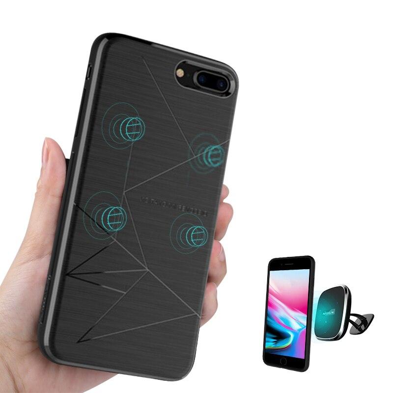 Per iphone 8 più hoesje NILLKIN Qi wireless receiver di ricarica della copertura fit supporto magnetico per iphone 8 più di lusso in silicone 5.5''