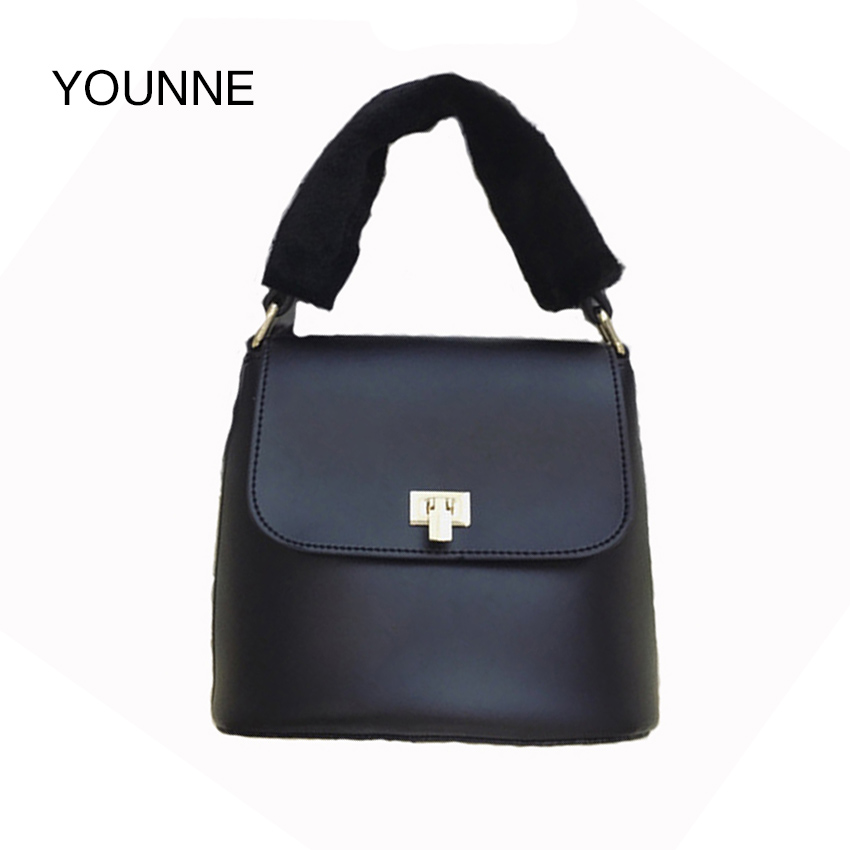 YOUNNE Women Handbag PU Leather Solid Colorful Wide Strap Zipper Elegant Retro Small Business Tote Shoulder Bag Female Hot Bags