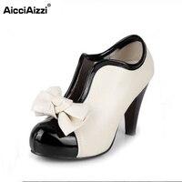 Las mujeres zapatos de tacón alto de nueva sexy lady beige bow vintage bowknot bombas plataforma punta redonda señoras H023 tamaño 35-43
