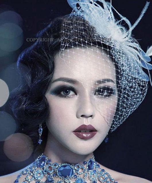 2015 New Handmade Wedding Hair Flower Mesh&Feather Bridal Hair Accessories White Flower Hair Jewelry Bride Flowers Headpiece