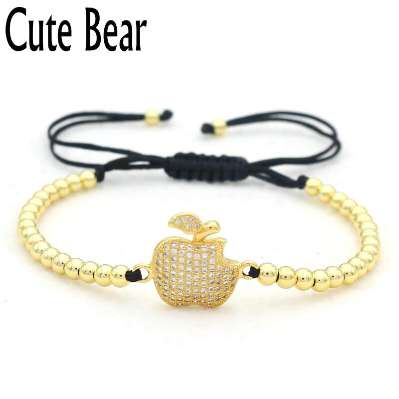 Cute Bear Brand Micro Pave Setting CZ Apple Charm Náramek 4mm Měděné Korálky Náramek Macrame Braiding Náramek Muži Ženy Šperky