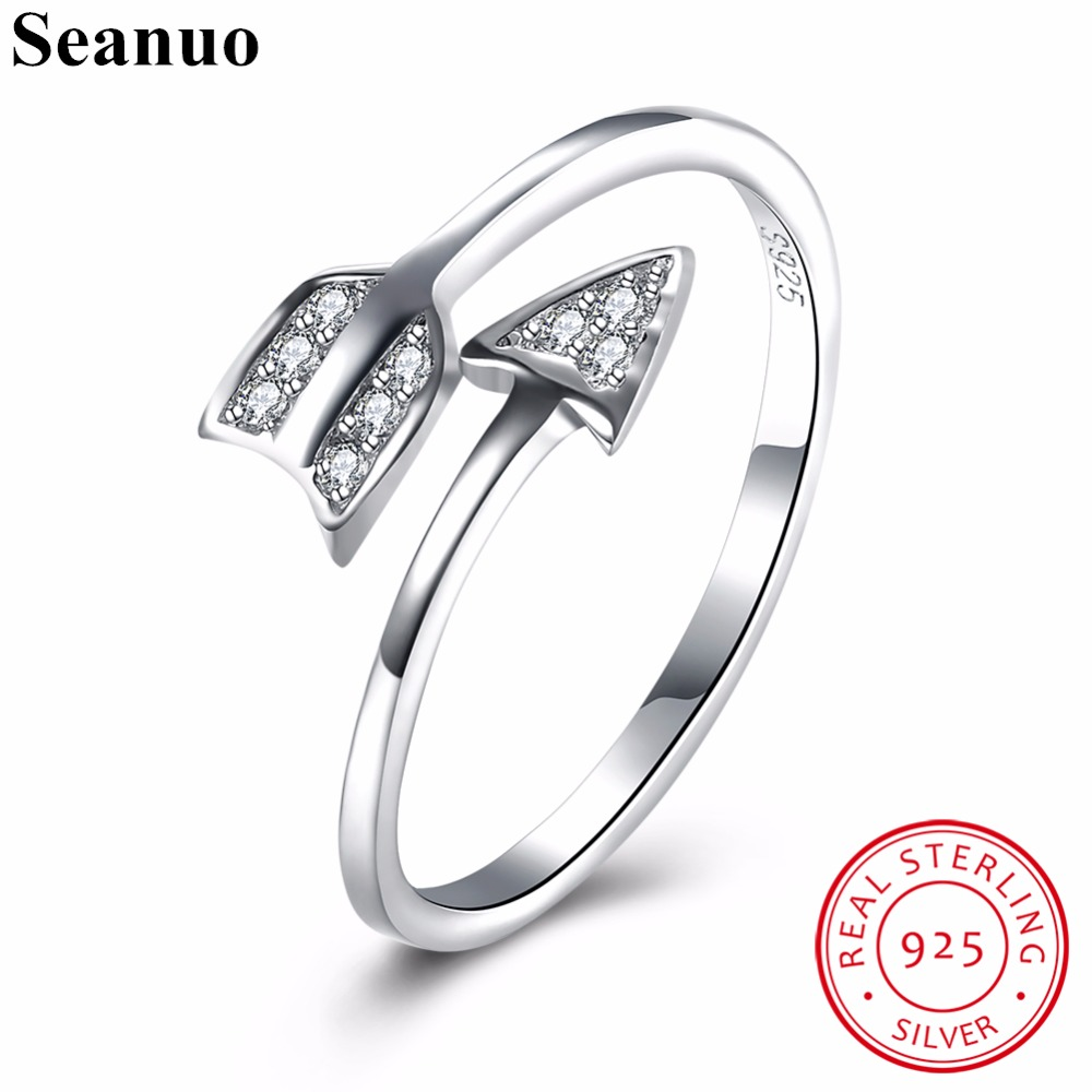 Seanuo Original 925 Sterling Silver CZ Stone Arrow Shape Open Wedding Ring For Women Jewelry Fashion Lady Cocktail Finger Rings