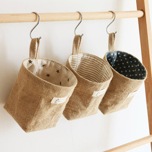 1 Pc Printing Cotton Linen Desktop Storage Organizer Sundries Box Cabinet Underwear Basket cartoon