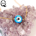 Long Gold plated blue opal Necklaces For Women Evil Eye Pendants 2017 New Ethnic Jewelry gift for women