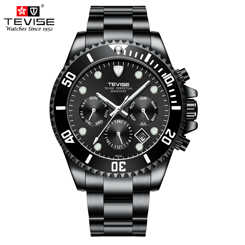 TEVISE Watch Men Auto Date Mechanical Watches Stainless Steel Self-Wind Automatic Watch Week Month Montre Homme Automatique стоимость