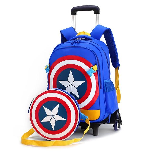 6055da142c Nuova Scuola Primaria Trolley Borse Captain America Per Bambini Anime Zaino  Zainetto Dei Bambini con Ruote