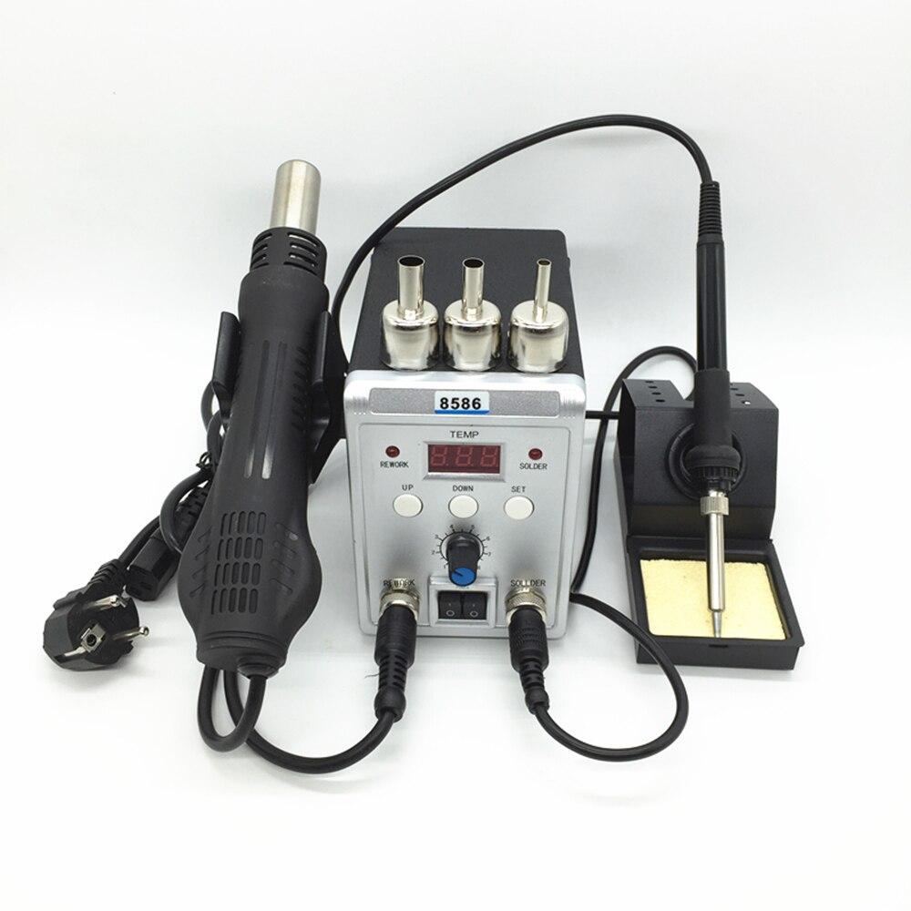 220 V/110 V 700W Station de soudure 8586 2 en 1 SMD Station de reprise pistolet à Air chaud + fer à souder électrique pour le soudage kit d'outils de réparation - 2