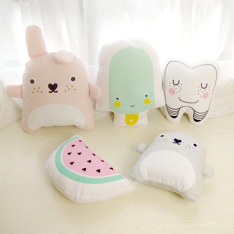 Baby Pillow Cartoon Pattern Kids Cute Educational Cushion Baby Room Decor Child Stuffed Soft Newborns Bed Doll Gifts 1pcs