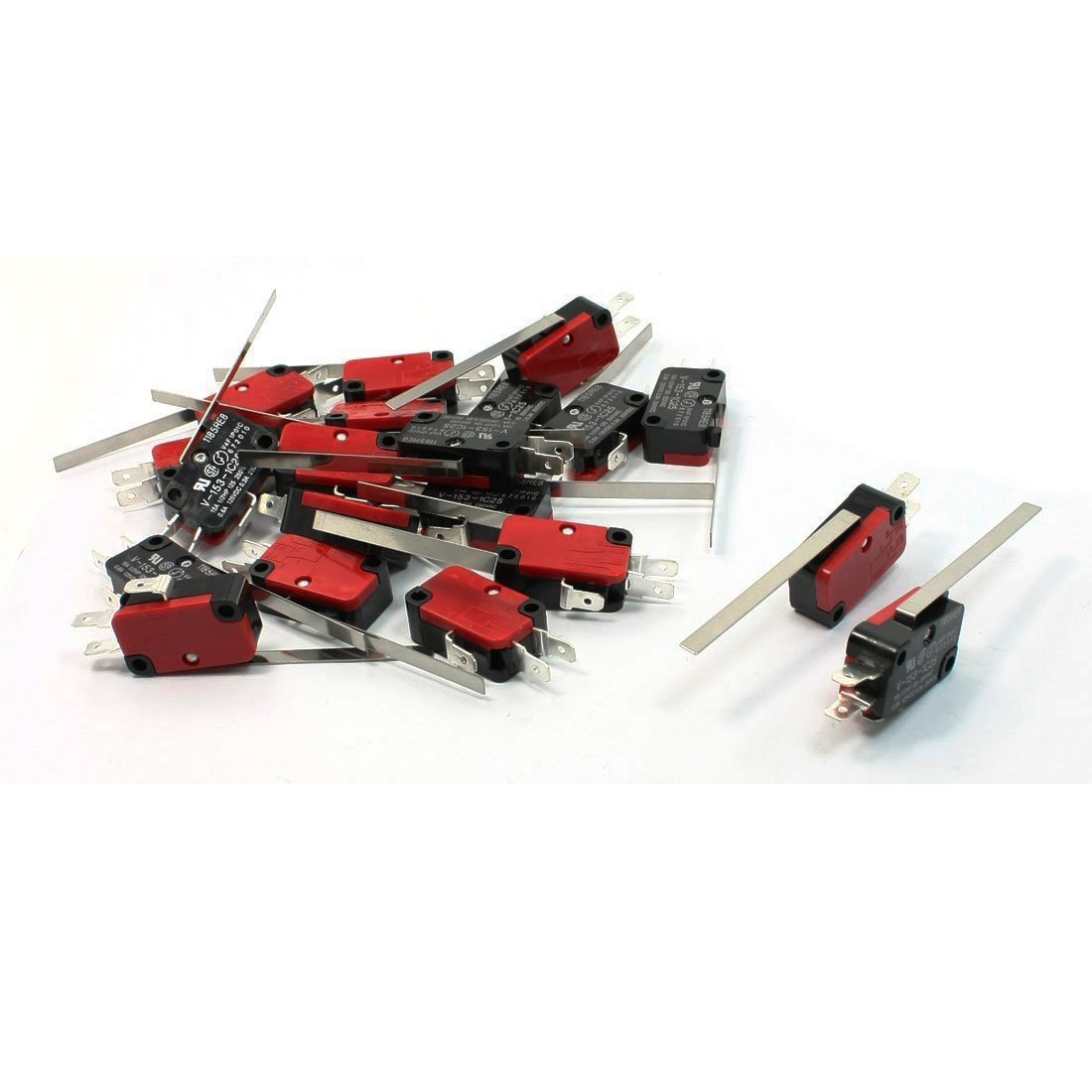 20PCS SPDT 3 Pins Long Straight Hinge Lever Momentary V-153-1C25 Micro Switch Red+Black 100pcs v 152 1c25 straight hinge lever ac dc micro switch