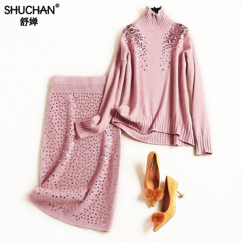 Shuchan Sequin 2 Piece Set Women New 2018 Pink Blue Knitted Sweater Set Women 2018 Designer 2 Pieces Set Pullover+pencil skirts