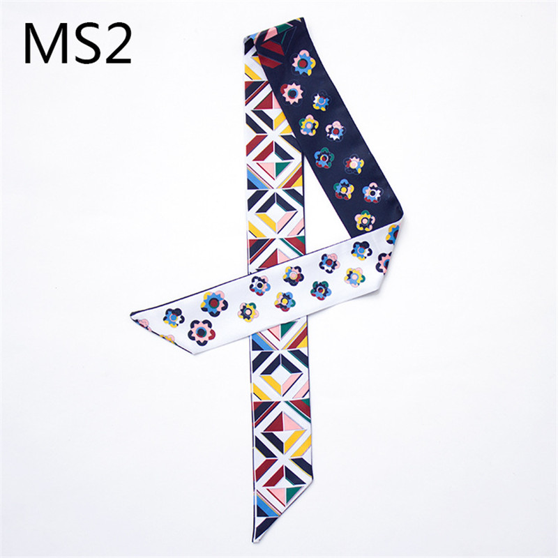 2019 New Small Floral Print Scarf Silk Scarf Handle Bag Ribbons Bandana Foulard Women Headwear Geometric Long Handbag Scarves