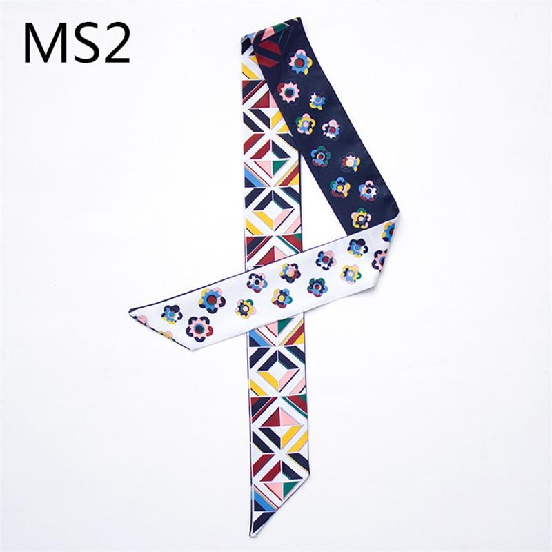 2019 New Small Floral Print Scarf Silk Scarf Handle Bag Ribbons Bandana Foulard Women Headwear Geometric Long Handbag Scarves