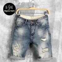Ragazzi Loose Fit Coscia Pantaloncini Jeans 2017 Estate Nuova Concezione di Grandi Dimensioni Maschili Cinque Pantaloni Pantaloni Denim Del Foro